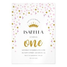 #Princess 1st Birthday | Gold & Pink Confetti Magnetic Card - #giftidea #gift #present #idea #one #first #bday #birthday #1stbirthday #party #1st