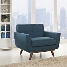 Engage Upholstered Armchair in Azure. Available on LexMod.com. Code:1178-AZU  Gently sloping curves and large dual cushions create a favorite lounging spot. Whether plopping down after a long day at work, settling in with coffee and brunch, or entering a spirited discussion with friends, the Engage armchair is a welcome presence in your home.