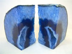 Beautiful Blue Agate Geode Bookends, Book Ends with Geode Druzy Center