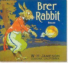 Brer Rabbit Brand - Corona, California Advertising Signs, Vintage Advertisements, Vintage Ads, Vintage Food Labels, Vegetable Crates, Old Crates, Type Posters, Box Art, Indian Art