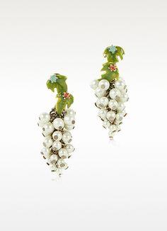 Les Nereides  Fruits d'Automne - White Grape Earrings