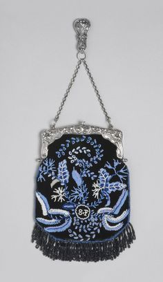 Woman's Bag Woman's Chataleine Bag  Made by Gorham Manufacturing Company, Providence, Rhode Island(silver elements) Date: c. 1903 Medium: Silver, silk velvet, beads