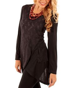 Love this Black Geometric Sidetail Tunic by Lily