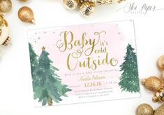 Winter Holiday Baby Shower Invitation for a Baby Girl: Snow, Gold Silver Glitter and Pink watercolor. Christmas Holiday Invite #4