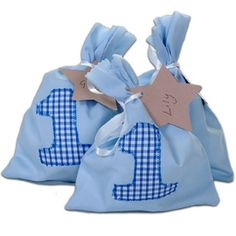 Handmade gingham detail fabric party bags