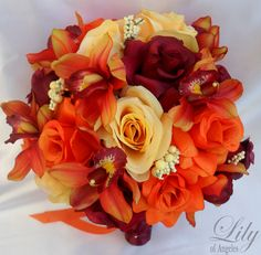 "17pcs Wedding Bridal Bouquet Set Decoration Silk Flower YELLOW ORANGE BURGUNDY ""Lily of Angeles"". $199.99, via Etsy."