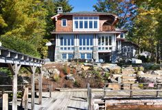 Modernized arts and crafts camp offers dreamy escape on Lake George #house #retreat #lake