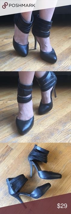"Guess Heels Super Cute Heels. With zipper back. In good condition.Heels height approx ""4 1/2"" in. Size 7 1/2M. Guess Shoes Heels"