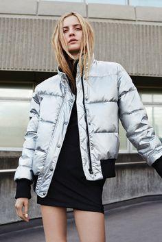Silver Puffa jacket.                                                                                                                                                                                 More