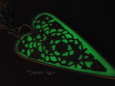 Green Glow in the Dark Heart Pendant Antiqued Brass by MoniqueLula, $28.00