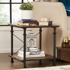 Myra Vintage Industrial Modern Rustic End Table by iNSPIRE Q Classic | Overstock.com Shopping - The Best Deals on Coffee, Sofa & End Tables
