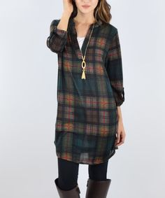 Love this Olive Plaid Tab-Sleeve Tunic on #zulily! #zulilyfinds