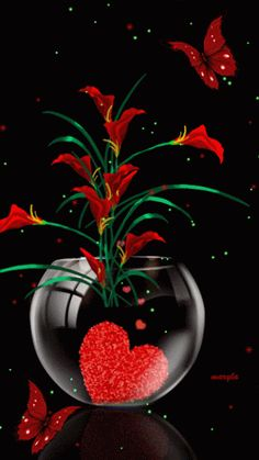 Vase with red heart & red flowers gif Flowers Gif, Beautiful Rose Flowers, Beautiful Gif, Red Flowers, Gif Bonito, Beau Gif, I Love Heart, Glitter Graphics, Gif Pictures