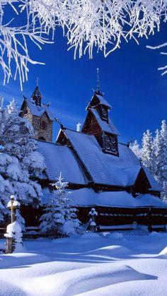 house, wood, trees, snow, winter