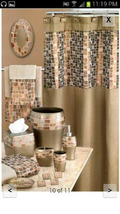 NEW Popular Bath Mosaic Stone Bronze Shower Curtain