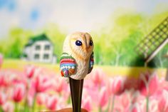 Spoon bright owl colorful patterns wings, teaspoon polymer clay fimo, decorate figure, unique handmade work,  exclusive exciting gift friend by BrightBobcat on Etsy