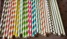 50 Vintage Paper Straws - 22 Colors to choose from!