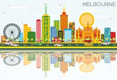Melbourne Skyline with Color Buildings, Blue Sky and Reflections