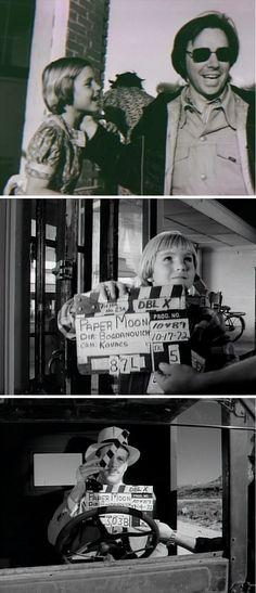 2. PAPER MOON - Le réalisateur Peter Bogdanovich avec Tatum O'Neal. Clap par Tatum et Ryan O'Neal.  http://cabougeassez.wordpress.com/2014/07/19/71-cycle-road-movie-%E2%80%A2-paper-moon-la-barbe-a-papa-%E2%80%A2-st-restitut-2872014/