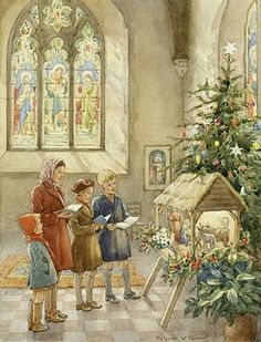'The Children's Corner of the Church' - children singing in front of crib. A mother and her children sing chistmas carols in church to a manger of the baby Jesus. Christmas card.
