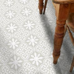 Vinyl Floor Tile Sticker - Floor decals - Carreaux Ciment Encaustic Floc Tile Sticker Pack in Stone Birch Floor Decal, Floor Stickers, Birch Floors, Vinyl Flooring Kitchen, Kitchen Vinyl, Tile Decals, Vinyl Tiles, Vinyl Decals, Peel And Stick Vinyl