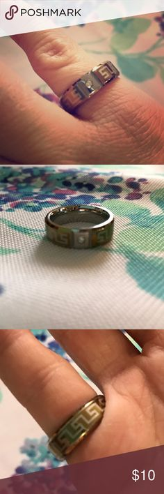 Silver, Gold, and Diamond Greek Inspired Ring This ring is silver with a gold coating. It has a sing diamond inlay with an etched Greek inspired design. This ring is a size 6. It has a thick band and is very durable. unknown Jewelry Rings