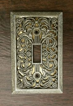 Vintage Antique Brass Switch Plate Cover Excellent Filigree Victorian Style #AmerTacAmerTac