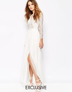 ASOS: Fame and Partners Geo Heartline Lace Panel Long Sleeve Maxi Dress ($272)