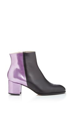 Carmelinas -  Ana Ankle Boot In Black Calf Leather And Metallic Heel (=)