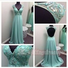 V-neck Beaded Mint Open Back Prom Dresses,Chiffon Long Evening Dresses On Sale http://21weddingdresses.storenvy.com/products/15884154-v-neck-beaded-mint-open-back-prom-dresses-chiffon-long-evening-dresses-on-sa