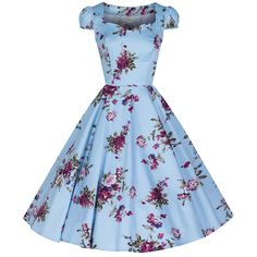 Sky Blue Vintage Floral Blossom Rockabilly Swing Dress