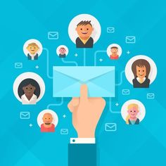 Concept of running email campaign, building online audience, email advertising, direct digital marketing. Human hand holding an envelope spreading information thought email distributing channel to  customers and followers