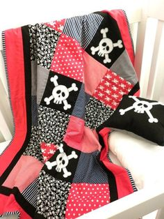 Skull and Crossbone Cot Quilt - I want this in king size
