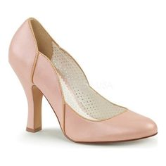 63b0a193ee Women s Pin Up Couture Smitten 04 Pump - Baby Pink Faux Leather Heels