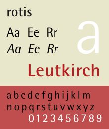 Rotis is a typeface developed in 1988 by Otl Aicher, a German graphic designer and typographer. In Rotis, Aicher explores an attempt at maximum legibility through a highly unified yet varied typeface family that ranges from full serif, glyphic, and sans-serif. The four basic Rotis variants are:  Rotis serif, Rotis semi-serif (semi-antiqua), Rotis semi-sans, Rotis sans.     I just love the concept of semi sans and semi serif and it works so well.