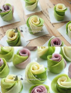 Matcha Rose Steam Bun Tangzhong Recipe 抺茶玫瑰湯種饅頭 放兩三天都超軟超綿 Steam Buns Recipe, Bun Recipe, Steamed Cake, Steamed Buns, Cute Food, Yummy Food, Custard Buns, Sweet Potato Buns, Recipes