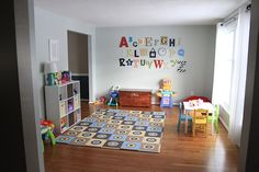 Love this playroom set up & all the ideas in it from heatherdriveblog.com