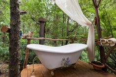Check out this awesome listing on Airbnb: Riverside Sanctuary & Fern Bathing - Cabins for Rent in Warburton Old Bathtub, Outdoor Bathtub, Outdoor Bathrooms, Clawfoot Bathtub, Outdoor Rooms, Bathtub Ideas, Bathroom Ideas, Outdoor Living, Unusual Bathrooms