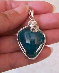 OOAK LARGE Deep Blue Green Smithsonite Sterling Wire Wrap Pendant Sapphireskies Designs by Sapphireskies on Etsy
