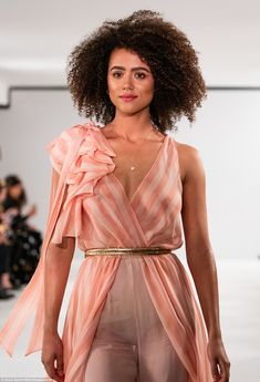 Celebs Discover A-list stars walk the Temperley catwalk during LFW Statement: The garment boasted a sensational ruffled shoulder and boasted a Grecian element with its layers of drapes which created momentum as she walked ahead Beautiful Celebrities, Beautiful Actresses, See Through Clothes, Game Of Throne Actors, Nathalie Emmanuel, Beautiful Black Women, Beautiful Body, Catwalks, Fashion Beauty