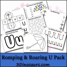 Today the Romping & Roaring ABC Pack to comes out for free! We have made it to the Letter U. The U theme is umbrella. We have made it to U in the Romping & Roaring ABC Packs! Preschool Activities At Home, Preschool Writing, Preschool Letters, Preschool Printables, Learning Letters, Alphabet Activities, Alphabet Worksheets, Free Preschool, Spring Activities