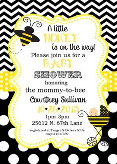 Bumble Bee Birthday Party or baby shower by noteablechic on Etsy Baby Shower Unisex, Baby Shower Niño, Baby Shower Invites For Girl, Baby Shower Gender Reveal, Baby Shower Themes, Baby Boy Shower, Shower Ideas, Bumble Bee Invitations, Custom Invitations