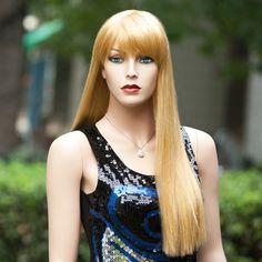 Neu Perücke Haar Wigs Weiblich Blond Glatt Lang WFS046