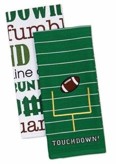 "Touchdown Football Towels Set of 2 - 100% Cotton, 18"" x 28"""