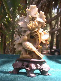 Ornate Jade Bird and Floral Carved Figurine Sculpture