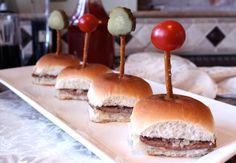 Secure mini sandwiches with a pretzel stick.
