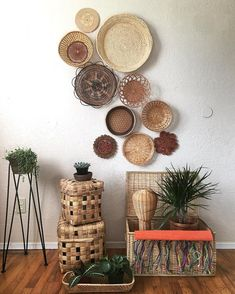 Wall gallery baskets on wall, wicker baskets, decorative wall baskets, wo. Decoration Ikea, Basket Decoration, Baskets On Wall, Wicker Baskets, Wall Basket, Woven Baskets, Hanging Basket, Ethno Design, Boho Decor