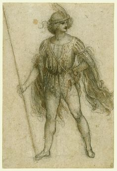 Leonardo da Vinci (Vinci 1452- Amboise 1519) A masquerader as a lansquenet  c.1517-18,Black chalk, pen and ink and wash, 27.3 x 18.3 cm The elderly Leonardo travelled to France in 1516. His work for King Francis I included the provision of costume designs for court masques. This example shows a masquerader in the showy dress of a mercenary soldier, and may have been made for the entertainment at Romorantin in January 1518, held in honour of Federico Gonzaga of Mantua.