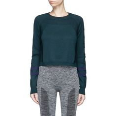Lndr 'Ace' Merino wool blend cropped sweater (405 BAM) ❤ liked on Polyvore featuring tops, sweaters, green, blue crop top, green sweater, green top, sports sweaters and cropped sweater