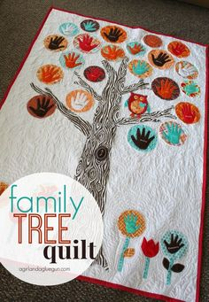 family tree quilt with everyone's hand prints